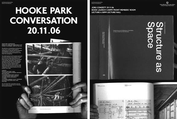 Hooke Park conversation and Jürg Conzett book launch and lecture posters